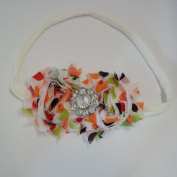 Chicky Chicky Bling Bling Cream Floral Chic Shabby Bow Headbands on thin cotton headband Womens Antique white with pumpkin and lime and brown