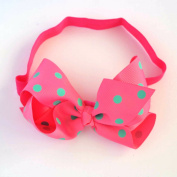 Chicky Chicky Bling Bling Girls Pink Polka Dot Chunky Bow Headband Womens Lime with Pink dot