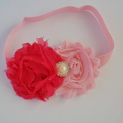 Chicky Chicky Bling Bling Girls Pink and Hot Pink Shabby Bow Headband Womens Pink with Hot pink