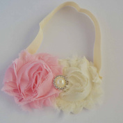 Chicky Chicky Bling Bling Girls Pink and Ivory Shabby Bow Headband Womens Ivory with Pink