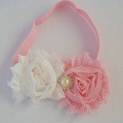 Chicky Chicky Bling Bling Girls Pink and White Shabby Bow Headband Womens White with Pink
