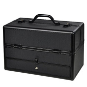 Professional Aluminium ABS Hair Stylist Barber Cosmetic Makeup Drawer Train Case With Key Lock Black
