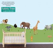 Fabric Jungle Animal Wall Decals, Jungle Stickers for Wall