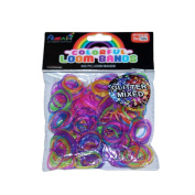 ASAH Colour Loom Bands 300pce + 16 S Clips - Glitter Mixed