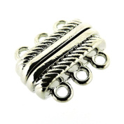 Magnetic Clasp 3-strand,18x15x7mm, hole 2mm, Silver, 2 Sets