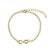 Beautiful Bead Women's Metal Chain Infinity Bracelet 20+6cm Gold