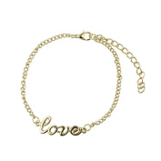 Beautiful Bead Women's Metal Chain Bracelet With Letter Love 20+6cm Gold