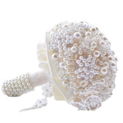 BEAUTBRIDE Handmade Wedding Bouquets Artifical for Wedding Luxury Full Pearls