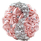 BEAUTBRIDE Handmade Wedding Bouquets Artifical for Wedding Luxury Beading Pink
