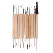 1 Sets of 11 Pcs Pottery Clay Sculpting Set Wax Carving Pottery Tools Shapers Polymer Modelling