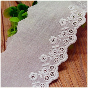 Ivory 5 Yards Hollowed Fabric Embroidered Cotton Lace Trim Curtain Sewing Lace 6.9cm Wide