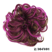 DENIYA Ladies Synthetic Curly Elastic Multi-Tonal Coloured Hair Bands Hair Bun Extension Hairpiece