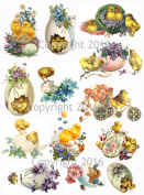 Victorian Easter Chicks and Eggs Collage Sheet #101