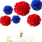 Since ® 12PCS Mixed Royal Blue & Red Party Tissue Pom Poms Wedding Flowers Birthday Anniversary Paper Hanging Decoration