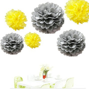 Since ® 12pcs Mixed Sizes Silver and Yellow Tissue Paper Pom Pom Pompoms Wedding Birthday Party Decorations Kids Holiday Supplies