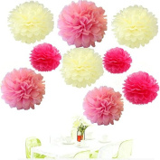 Since ® 18PCS Mixed Ivory Pink Hot Pink Party Tissue Pom Poms Paper Flower Pompoms Wedding Birthday Party Nursery Decoration