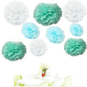 Since ® ack of 18 Mixed White Blue Mint Tissue Pom Poms Paper Flower Pompoms Wedding Birthday Party Nursery Decoration