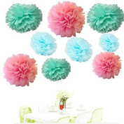 Since ® 18PCS Mixed Pink Blue Mint Party Tissue Pom Poms Paper Flower Pompoms Wedding Birthday Party Nursery Decoration