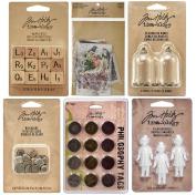 Tim Holtz - Idea-Ology - Findings - Dolls, Dice, Domes & Ephemera - 6 item bundle