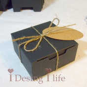 Gold-Furtune 50PCS Square Gift Wrapping Paper Soap Box With Cards & Hemp Rope Cardboard Paper