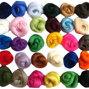 Set of 36 colours Wool Fibre Wool Yarn Roving For Needle Felting Hand Spinning DIY NEW Craft materials.