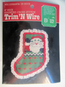 Trim 'N Wire 15cm Round Counted Cross Stitch Kit #23140cm Santa in Sock""