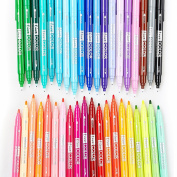 36 Pack Dual Tip Watercolour Pen Set-Medium & Fine Tip, Water Based Colouring Markers, Rich and Vibrant Colours Perfect for Adult Colouring