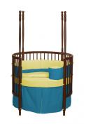 Baby Doll Bedding Solid Reversible Round Crib Set, Aqua/Yellow