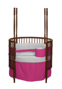 Baby Doll Bedding Solid Reversible Round Crib Set, Hot Pink/Grey