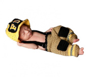 Pinbo® Newborn Baby Photo Prop Crochet Firefighter Fireman Hat Pants Suspenders