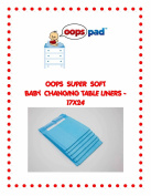 OOPS SUPER SOFT BABY CHANGING TABLE LINERS -17X24