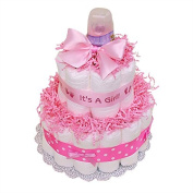 Pink Baby Girl Nappy Cake - Girl Nappy Cake, Pink Nappy Cake, It's a Girl Nappy Cake, Baby Shower Centrepiece/ New Baby Gift/ Welcome Baby Gift
