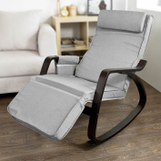 SoBuy New Relax Rocking Chair Lounge Chair with Adjustable Footrest,FST20-HG,grey