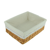 RURALITY Rectangular Wicker Woven Storage Basket with Liner,Large