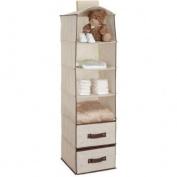 Delta Children 6-Shelf Hanging Storage Unit with 2 Drawers, Beige