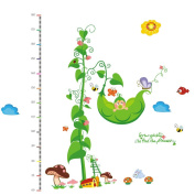Winhappyhome Vines Pods Cartoon Growth Charts Height Measurement Kids Wall Stickers for Children Room Nursery Background Removable Decor Decals