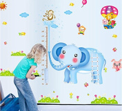 Winhappyhome Elephant Kids Height Measurement Growth Chart Wall Stickers for Living Room Bedroom Sofa TV Background Sticker Home Decor Removable Decals