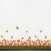 Tulips Flowers Butterflies Baseboard Skirting Line Wall Sticker Paper Home Decal Removable Wall Vinyl Living Room Bedroom PVC Art Picture Murals Waterproof DIY Stick for Adults Teems Childres Kids Nursery Baby