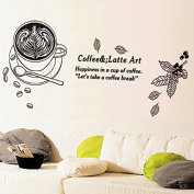 Coffee Mugs Leaves English Letters Wall Decal Home Sticker PVC Murals Vinyl Paper House Decoration WallPaper Living Room Bedroom Kitchen Art Picture DIY for kids Teen Senior Adult Nursery Baby