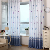 Awakingdemi Country Style Print Sheer Moon Star Shading Window Treatments Door Screen Curtain for Living Room Kids Bedroom