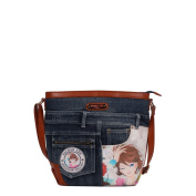Nicole Lee Wanda Denim Print Cross Body Bag, Xochil