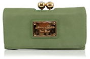 ANNA SMITH brand new genuine martinee with ANNA SMITH logo gold plate wallet, purse, clutch with gift box-GREEN