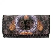 Brown Wallet Pocketbook Tribal Design Faux Leather