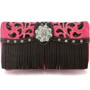 Justin West Rhinestone Concho Leather Fringe Gleaming Laser Cut Wristlet Trifold Wallet Attachable Long Strap