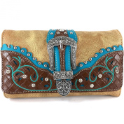 Justin West Floral Embroidery Weaved Leather Rhinestone Buckle Wristlet Trifold Wallet Attachable Long Strap