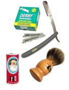 Classic Samurai Men Premium Shaving Set with CS-101G Stainless Steel Professional Barber Straight Edge Razor with 100 Derby Single Razor Blades, Pure Badger Shaving Brush, Arko Stick Soap