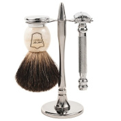 Parker 99R Safety Razor Shave Set - Includes Premium Black Badger Brush, Stainless Steel Stand & Parker 99R Butterfly Open Safety Razor **NEW FOR 2016 **
