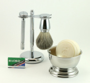 5 Piece Men's Shaving Set -- De Razor Long Handle, Badger Brush, Chrome Bowl, GBS Soap and Stand
