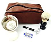 Men Shaving Set gift ZEVA Safety Razor Black Brown kit-54791715 Shaving Set Men Shaving kit Long Handle Razor Vintage Style Classic Great GIFT Idea holiday season