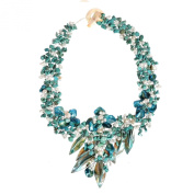 Turquoise Floral Bouquet Statement Stone and Shell Tapered Necklace